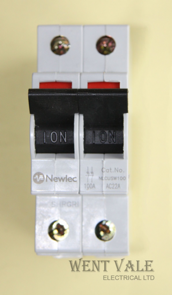 Newlec NLCUSW100 - 100a AC22A Double Pole Switch Disconnector Used
